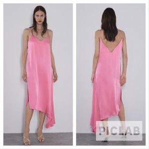 Zara pink asymmetrical slip dress